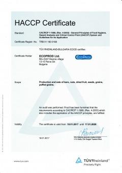 HACCP certificate NICS